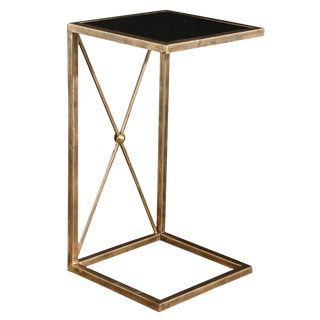 Gold Metal With Black Glass Side Table For Sale
