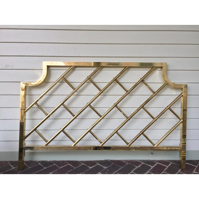 Chinese Chippendale Style Brass Queen Bedframe - Image 4 of 11
