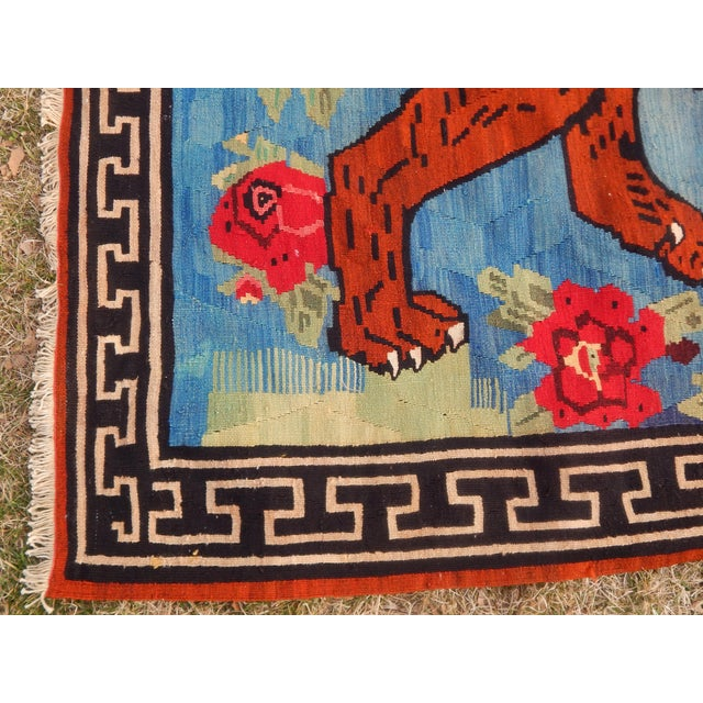 Blue Vintage Gabbeh Lion Kilim Rug - 5'1'' X 7'3'' For Sale - Image 8 of 13