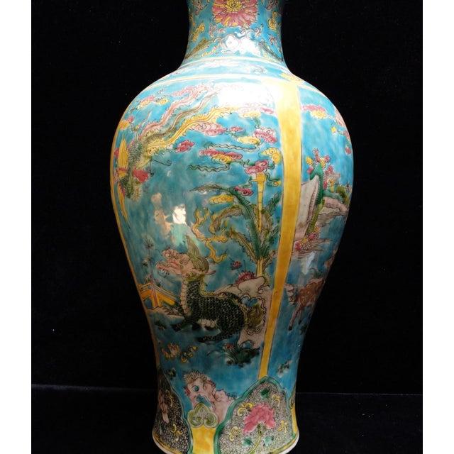 Chinese Porcelain Blue Base Animals Decor Vase For Sale - Image 5 of 6