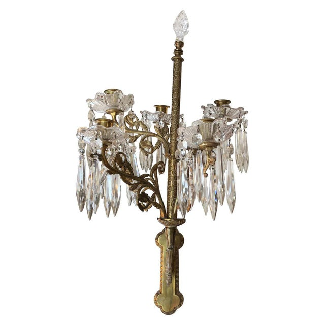 Cast Bronze and Crystal Candle Sconces -A Pair For Sale - Image 10 of 10