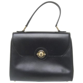 Saks Fifth Avenue Ebony Leather Handbag Made in Italy For Sale