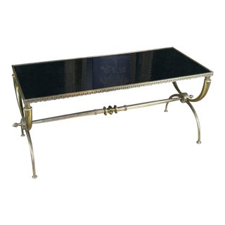 French 1940s Neoclassical Brass Coffee Table with Black Glass