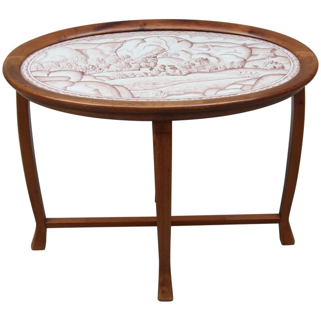 Mid-Century Modern Salon Table With Stoneware Top by Helge Johansson, 1918 For Sale - Image 3 of 3