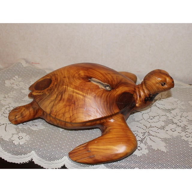 Contemporary Don & Gis Rutledge Carved Wood Turtle For Sale - Image 3 of 6