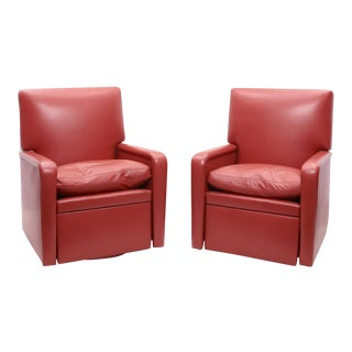 Lipstick Red Leather Reclining & Revolving Thomas De Angelis Club Chairs - a Pair For Sale