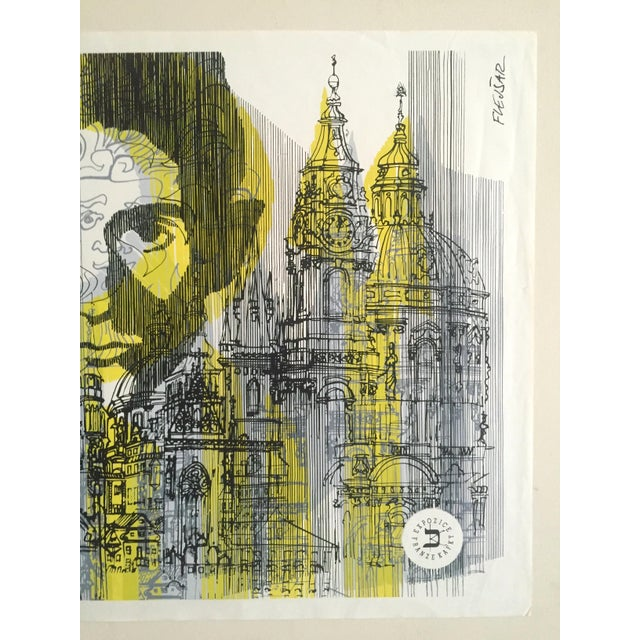 "Contemporary Josef Flejsar Rare Vintage 1993 Czech Lithograph Print Poster ""Franz Kafka Exposition"" For Sale - Image 3 of 13"