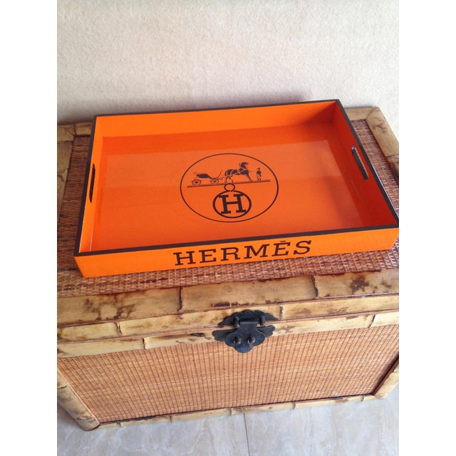Hermès Vintage Hermes Orange & Brown Bar Tray For Sale - Image 4 of 6