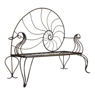 Art Nouveau Nautilus Patio Settee- Wrought Iron Garden Bench