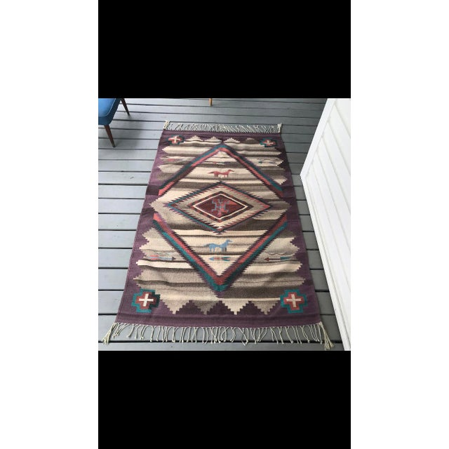 1970s 1970s Vintage Navajo Style Rug - 3′11″ × 1″ For Sale - Image 5 of 5