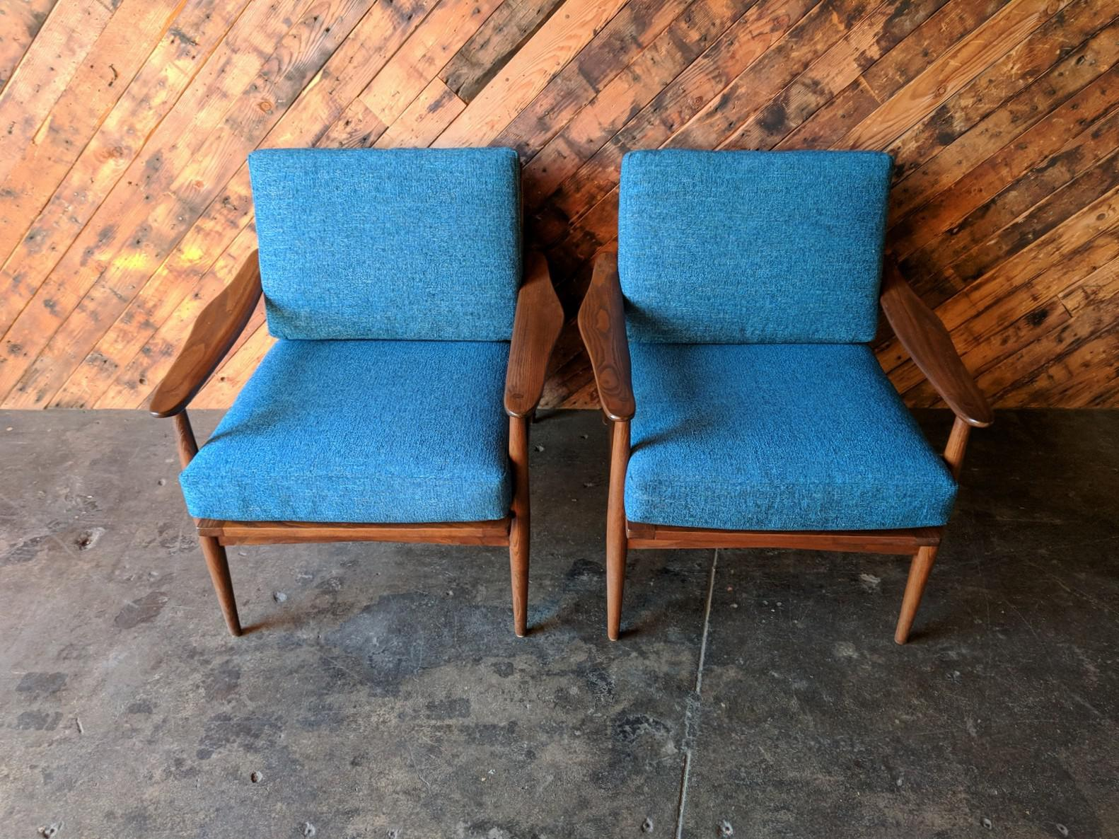 Mid Century Refinished Danish Lounge Chairs With New Cushions   A Pair    Image 2 Of