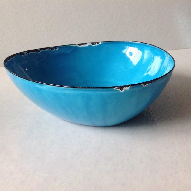 Mid-Century Modern Blue Enamel Metal Bowl - Image 11 of 11