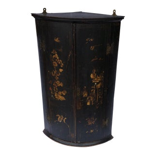 Antique English Chinoiserie Corner Cabinet For Sale