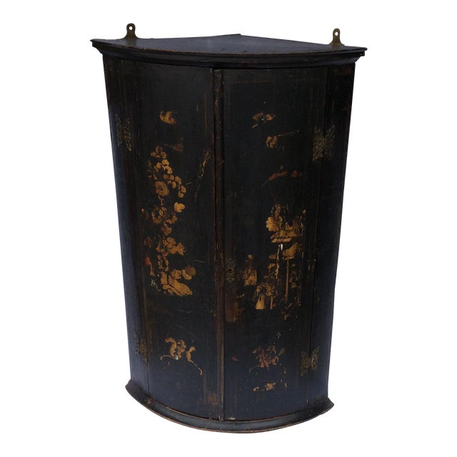 Antique English Chinoiserie Corner Cabinet For Sale - Superior Antique English Chinoiserie Corner Cabinet DECASO