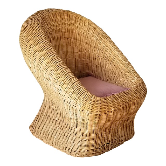 Vintage Woven Wicker Club Chair For Sale