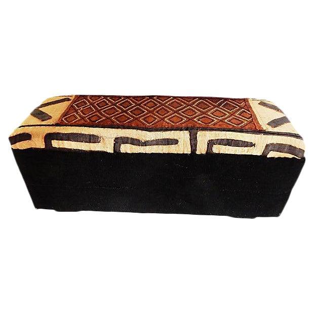 Fabulous Custom Made Kuba Mud Cloth Ottoman 16 H By 36 W Chairish Inzonedesignstudio Interior Chair Design Inzonedesignstudiocom