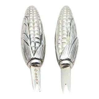 Sterling Silver Corn Holders - a Pair For Sale