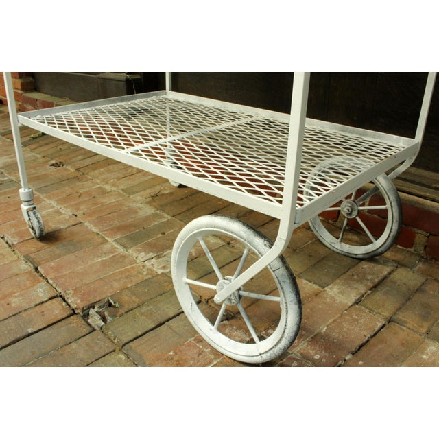 1940s Vintage Wrought Iron Patio Bar Cart For Sale - Image 9 of 10