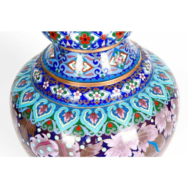 Vintage Gilt Brass Interior Cloisonné Decorative Vase For Sale - Image 11 of 13