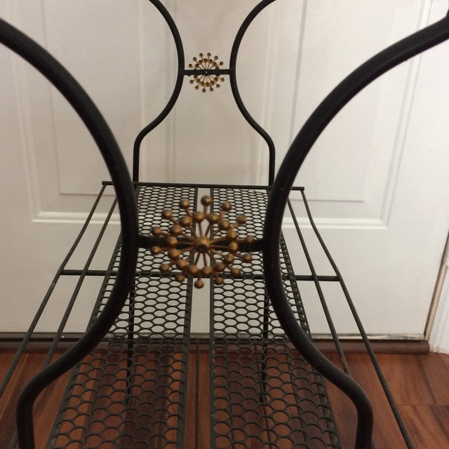 Mid-Century Atomic Perforated Metal Stand - Image 6 of 6