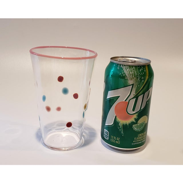 Polka Dot, Pink-Rimmed Hand-Blown Tumblers - Set of 4 For Sale - Image 4 of 7