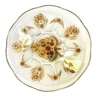 1970s Vintage George Briard Gilded Glass Dish For Sale
