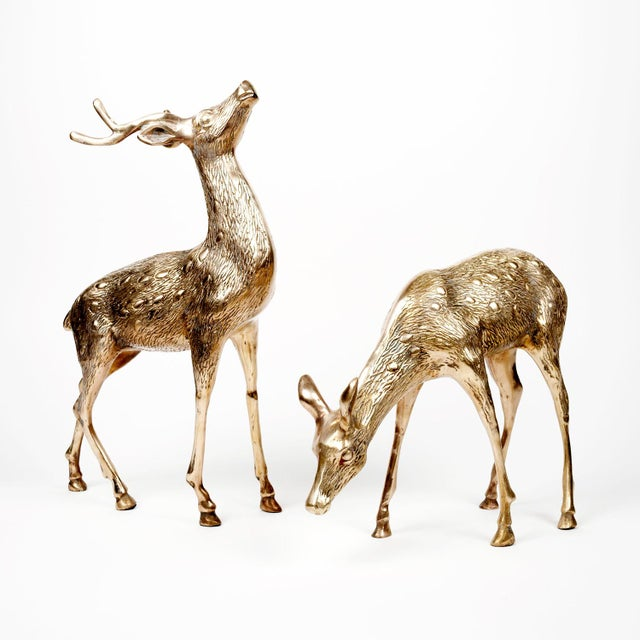 Vintage Brass Deer Figures - A Pair - Image 2 of 10