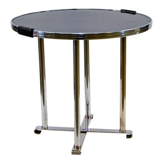 Art Deco Chrome/Black Occasional Table For Sale