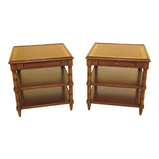 1990s Tradiitonal Woodbridge 1 Drawer Mahogany Tier End Tables - a Pair For Sale