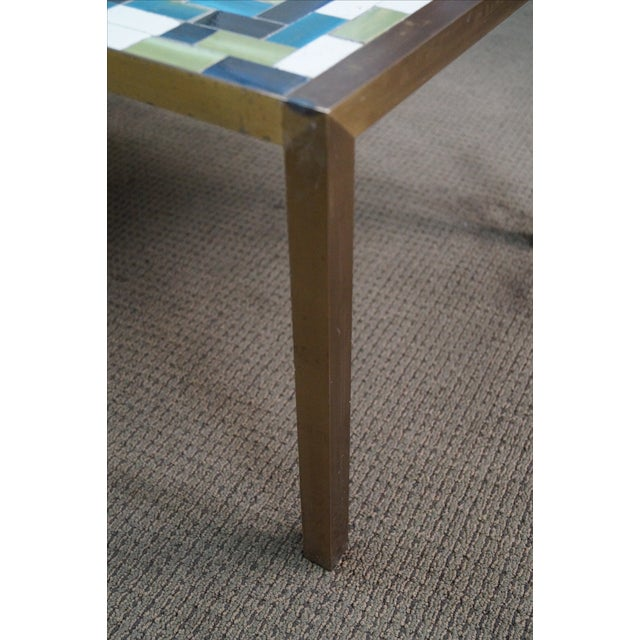 Mid Century Brass Coffee Table with Tile Top - Image 7 of 10