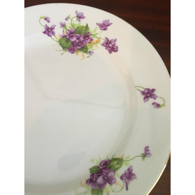 1950s Violet Floral Bone China Luncheon Plates - Set of 9 For Sale - Image 4 of 13