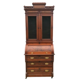 Victorian Walnut Cylinder Secretary Desk For Sale