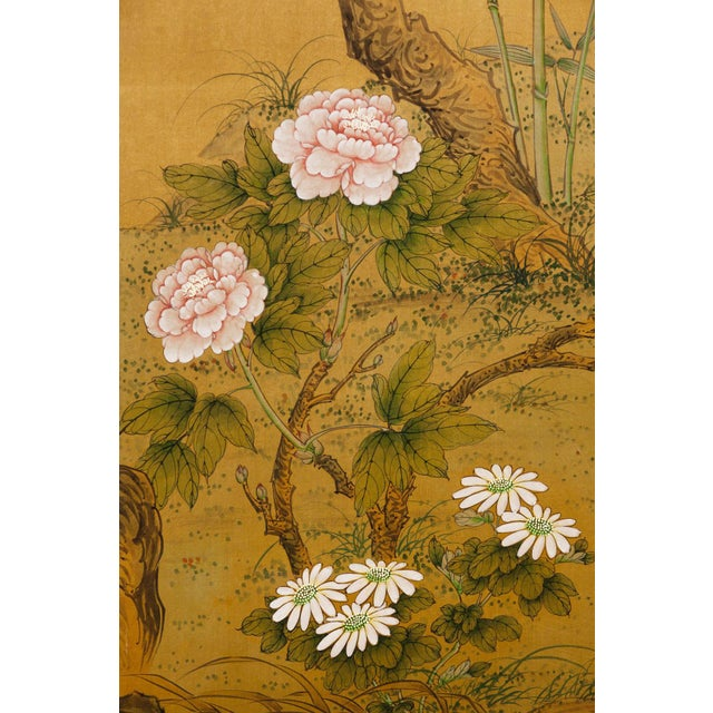 Lawrence & Scott Sung Tze-Chin Large Chinoiserie Hanging Screen Ink on Silk Birds and Flowers Scene 9 Feet Wide by 7 Feet Height For Sale - Image 4 of 13