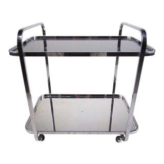 Vintage Modern Chrome & Smoked Glass Bar Cart For Sale