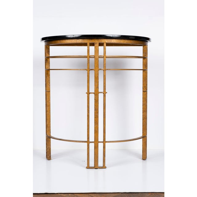 Metal 20th Century Art Deco Gilt Iron and Granite Demi Lune Consoles - a Pair For Sale - Image 7 of 10