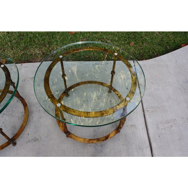 Round Coffee Table Pair: Mid-Century Round Gilt Iron And Glass Coffee Tables / Side