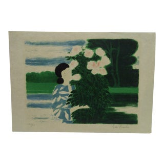 """Limited Edition """"Chinese Flowering Bush"""" Signed Numbered Print by Andre' Brasilier"""
