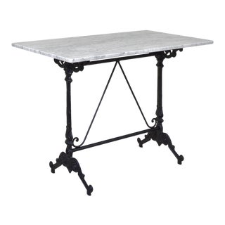 French Style Bistro Table With Cast Iron Base & White Marble Top. Rectangular For Sale