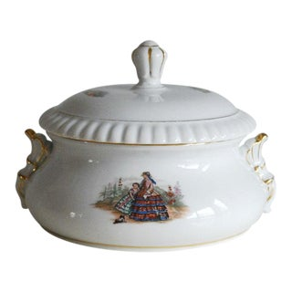 Vintage Mid-Century Shabby Chic Porcelain Soup Tureen For Sale