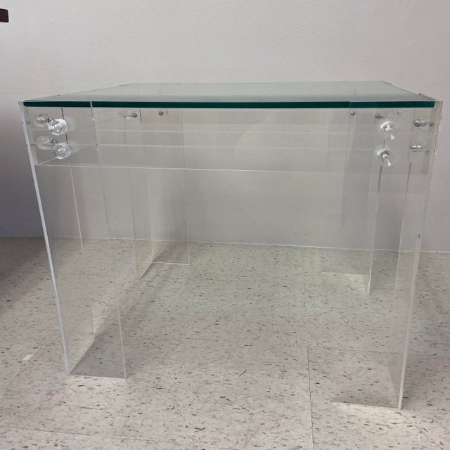 Mid-Century Modern 1970s Modernist Lucite and Glass Coffee Table For Sale - Image 3 of 10