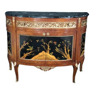 French Louis XV Style Inlaid Demilune Buffet Cabinet Credenza For Sale