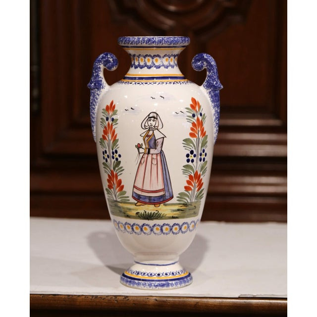 Tall Early 20th Century French Hand-Painted Faience Vase Signed Henriot Quimper For Sale In Dallas - Image 6 of 9