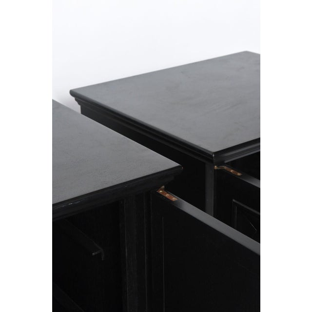 1960s Pair of American Modern Black Lacquer Cabinets For Sale - Image 5 of 8