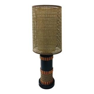 Mid-Century Modern Black & Wood Panel Table Lamp