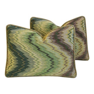 """Clarence House Velvet Fabric Feather/Down Pillows 22"""" X 16"""" - Pair For Sale"""