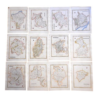 Set of 16 Authentic Antique Engraved Maps-Counties of England-1831 For Sale