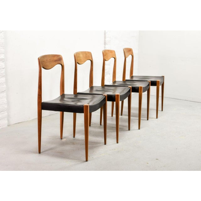 Mid-Century Modern Set of Four Mid-Century Scandinavian Design Leatherette Dining Chairs After n.o. Moller, Early Edition Model 71, Denmark, 1950s For Sale - Image 3 of 12