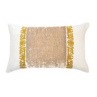 Francesca White Linen & Taupe Velvet Lumbar Pillow