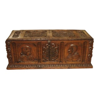 Antique Walnut Wood Renaissance Style Armorial Trunk From Spain, Early 19th C. For Sale