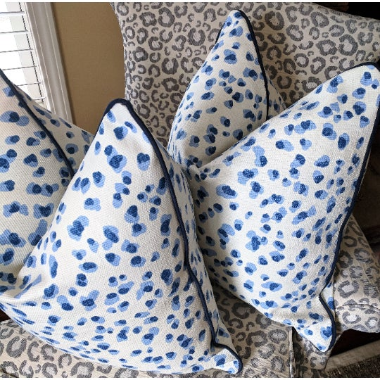 Asian Rack Leopard in Blue With Navy Velvet Welt - a Pair For Sale - Image 3 of 4